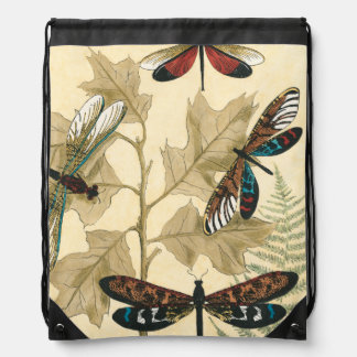 Colorful Dragonflies Floating Above Leaves Drawstring Bag