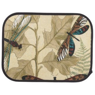 Colorful Dragonflies Floating Above Leaves Floor Mat