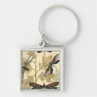 Colorful Dragonflies Floating Above Leaves Silver-Colored Square Key Ring