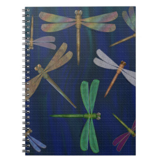 Colorful Dragonflies on Dark Marbled Blue Print Notebooks