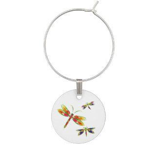 Colorful dragonflies wine charm