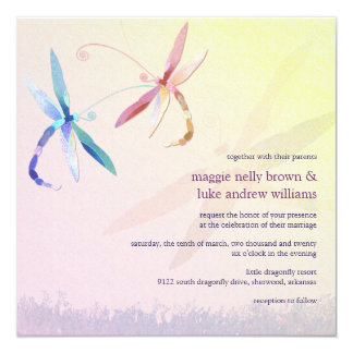 Colorful Dragonfly Couple Spring Wedding Card
