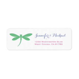 Colorful Dragonfly Return Address Label Template