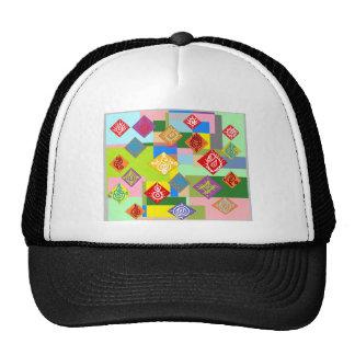 Colorful Drawing Motif Mesh Hats