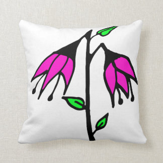 Colorful Drawing of Fuchsia Flower Cushion