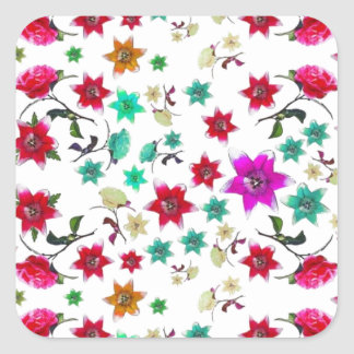 Colorful drawn flowers pattern stickers