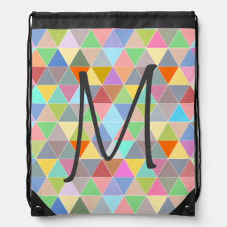 Colorful drawstring bag with geometric triangles