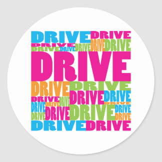 Colorful Drive Round Stickers
