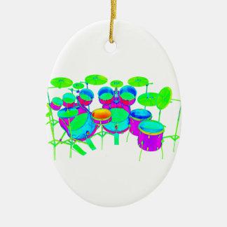 Colorful Drum Kit Christmas Ornament