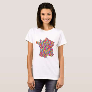 Colorful Dynamic Heart-filled Map of France T-Shirt