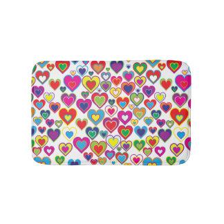 Colorful Dynamic Rainbow Hearts in Hearts Pattern Bath Mats