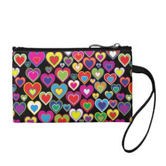 Colorful Dynamic Rainbow Hearts in Hearts Pattern Change Purse