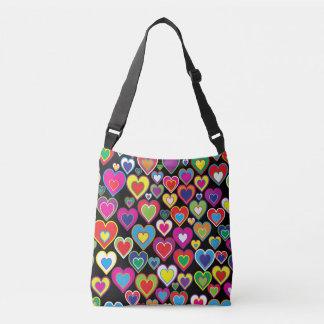 Colorful Dynamic Rainbow Hearts in Hearts Pattern Crossbody Bag