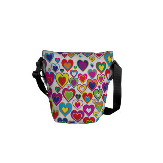 Colorful Dynamic Rainbow Hearts in Hearts Pattern Messenger Bags