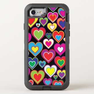 Colorful Dynamic Rainbow Hearts in Hearts Pattern OtterBox Defender iPhone 7 Case
