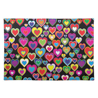 Colorful Dynamic Rainbow Hearts in Hearts Pattern Placemats