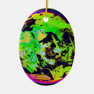Colorful Earth From Space. Ceramic Oval Decoration