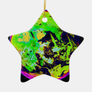 Colorful Earth From Space. Ceramic Star Decoration