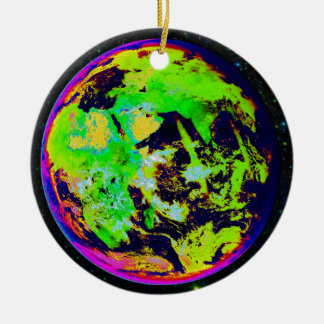 Colorful Earth From Space. Round Ceramic Decoration