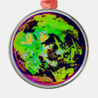 Colorful Earth From Space. Silver-Colored Round Decoration