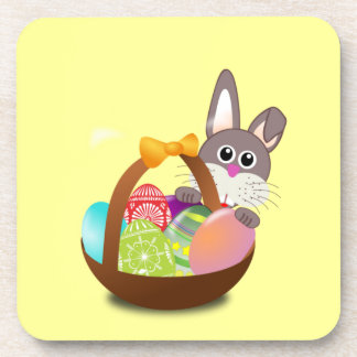 Colorful Easter Bunny And Eggs Coaster