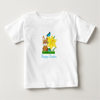 Colorful Easter Daffodils and Rabbit Baby T-Shirt
