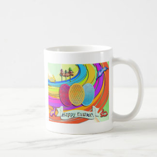 Colorful Easter Eggs and Bunny Rabbits Mugs