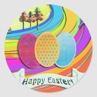 Colorful Easter Eggs and Bunny Rabbits Round Stickers