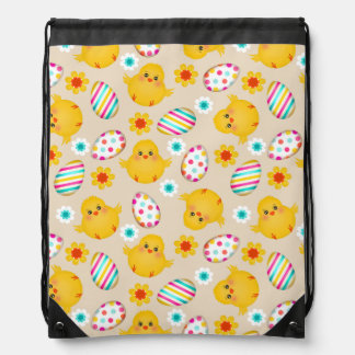Colorful Easter Eggs and Chicks Pattern Drawstring Backpack
