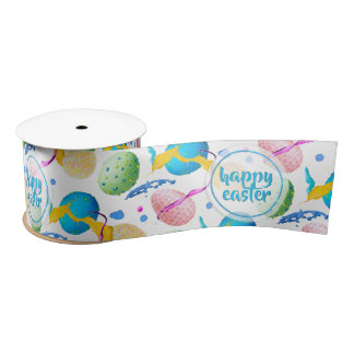 Colorful Easter Eggs and Paint Splash Satin Ribbon