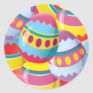 Colorful Easter Eggs - Fiesta Colors Round Sticker
