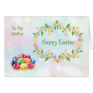 Colorful Easter eggs, floral wreath Sister Card