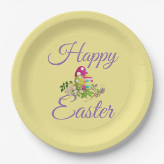 Colorful Easter Eggs | Happy Easter Typography Paper Plate