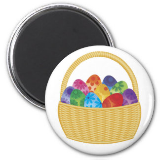Colorful Easter Eggs in Basket Magnet