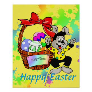 Colorful Easter eggs in basket with dancing easter Poster