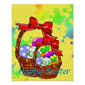 Colorful Easter eggs in baskets Poster