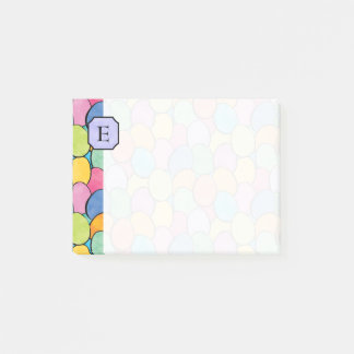 Colorful Easter Eggs Monogram 4x3 Post-it Notes