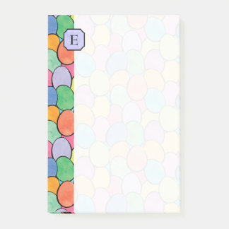 Colorful Easter Eggs Monogram 4x6 Post-it Notes