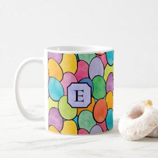 Colorful Easter Eggs Monogram Coffee Mug