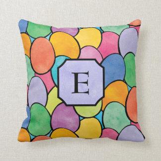 Colorful Easter Eggs Monogram Cushion