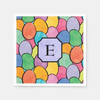 Colorful Easter Eggs Monogram Disposable Serviettes