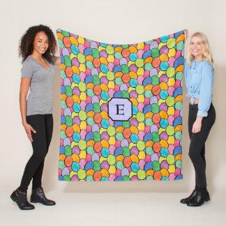 Colorful Easter Eggs Monogram Fleece Blanket