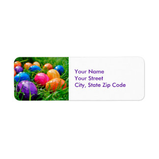 Colorful Easter Eggs on Grass Photo Address Labels