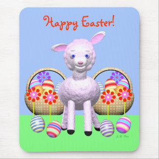 Colorful Easter Lamb and Baskets Mouse Pad