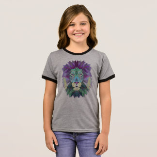 Colorful Elegant Abstract Lion | Ringer Shirt