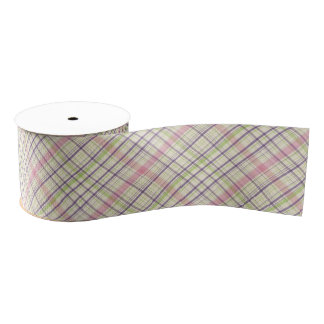 Colorful Elegant Pastel Retro Tartan Plaid Pattern Grosgrain Ribbon
