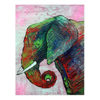 Colorful Elephant Art Postcard