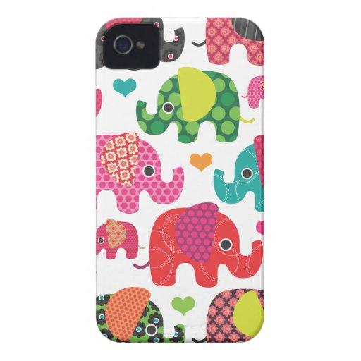 Colorful elephant kids pattern blackberry case
