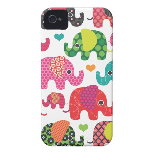 Colorful elephant kids pattern iphone case Case-Mate iPhone 4 case