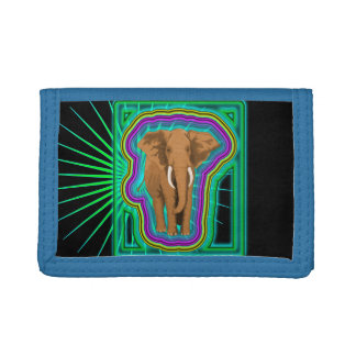 Colorful Elephant Motif Tri-fold Wallet